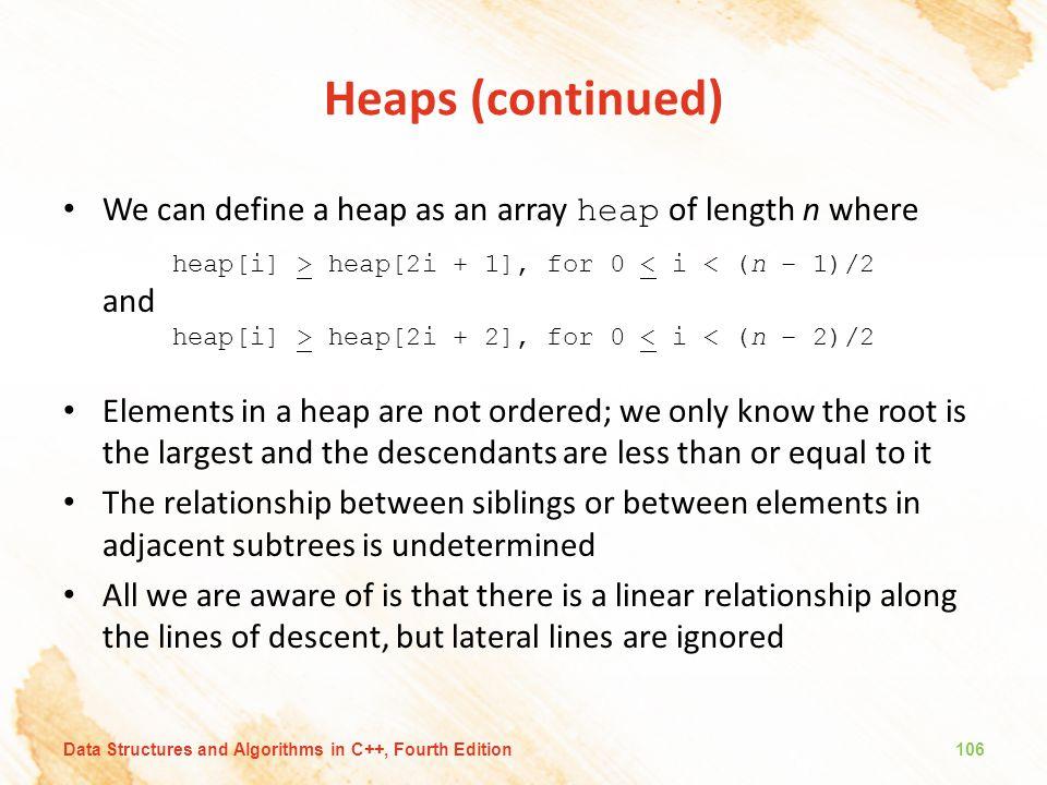 Heaps (continued) We can define a heap as an array heap of length n where. heap[i] > heap[2i + 1], for 0 < i < (n – 1)/2.